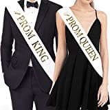"Health & Personal Care : TTCOROCK ""PROM KING"" And ""PROM QUEEN"" Sashes – Graduation Party School Party Accessories, White with Gold Print"