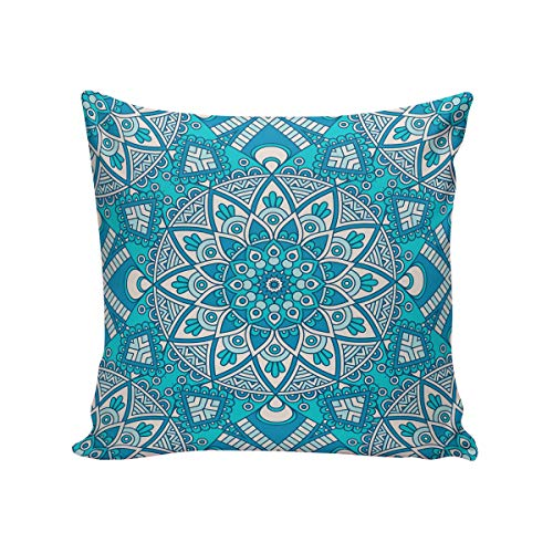 T&H Home Comfortable Throw Pillow Cover for Bedding, Decorative Accent Cushion Sham Case for Couch Sofa, Soft Solid Satin with Zipper Hidden - 20x20 in, Blue Palace Style Mandala