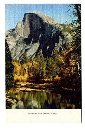 Half Dome from Sentinel Bridge 1930's Yosemite National Park Linen - Sentinel Dome