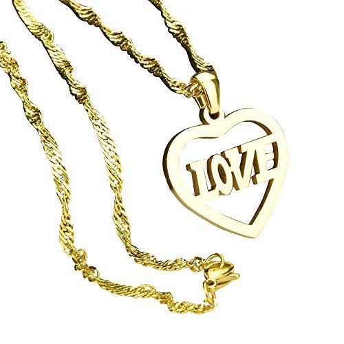 FZTN Jewelry 18K Gold Plated Diamond Cut Singapore Chain Love Heart Pendant Necklace Fashion for Men Wowen Teens Boys Girls