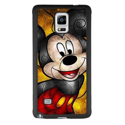 Mickey Mouse Samsung Galaxy Note 4 Case, Onelee [Never fade] Disney Mickey Mouse Samsung Galaxy Note 4 Black TPU and PC Case [Scratch proof] [Drop Protection]