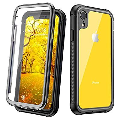 JUSTCOOL iPhone XR Case, Clear Full Body Heavy Duty Protection with Built-in Screen Protector Shockproof Rugged Cover for iPhone XR Cases 2018 6.1 Inch (Black+Clear)