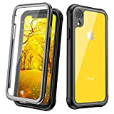 JUSTCOOL iPhone XR Case, Clear Full Body Heavy Duty Protection with Built-in Screen Protector Shockproof Rugged Cover for iPhone XR Cases (2018) 6.1 Inch (Black/gray+Clear)