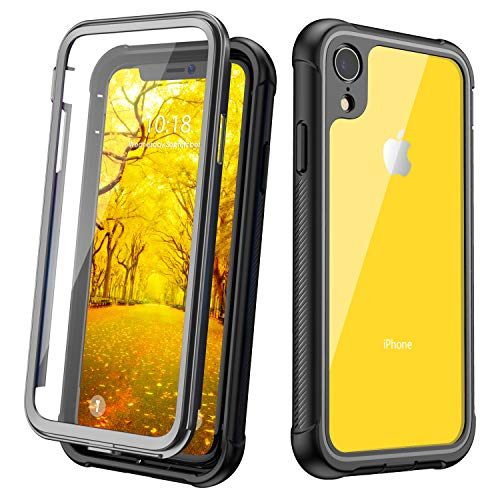 Full Body Protection - Justcool Designed for iPhone XR Case, Clear Full Body Heavy Duty Protection with Built-in Screen Protector Shockproof Rugged Cover Designed for iPhone XR Cases (2018) 6.1 Inch (Black/Gray+Clear)