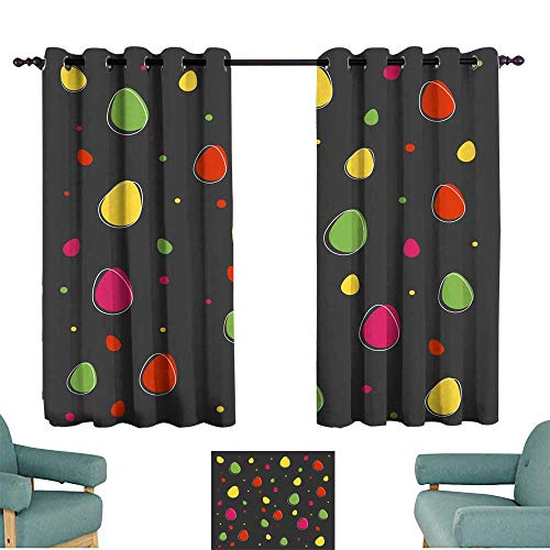cobeDecor Exquisite Curtain Easter Background with Eggs Vector Wallpaper 70%-80% Light Shading, 2 Panels,63