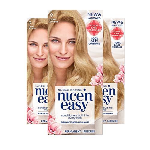 Clairol Nice 'n Easy Permanent Hair Color, 9 Light Blonde, Pack of 3, Blondes (Loreal Hair Color On Sale This Week)