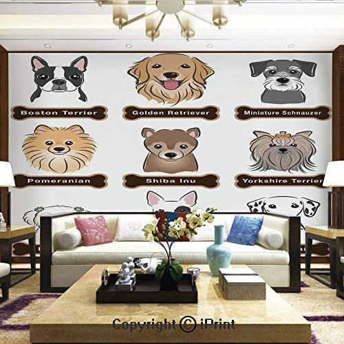 (Lionpapa_mural Removable Wall Mural Ideal to Decorate Your Dining Room,Various Type of Dogs Nameplate Boston Terrier Domestic Animal Faithful Loyal,Home Decor - 66x96 inches )