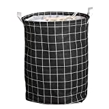 SuperiMan Cotton Storage Basket with Drawstring Cover,Laundry Hamper with Handles for Clothes,Kids Toys Organizer (Black Grid)