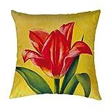 Red Tulip Throw Pillowcase Decorative Pillow Case Chair Cushion Cover 14 X 14 Inch