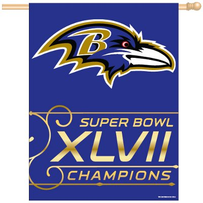 NFL Baltimore Ravens Super Bowl XLVII Champions 27-by-37-Inch Vertical Flag