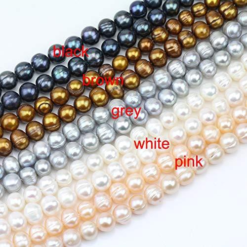 Pukido 8mm Potato Shape White,Orange Pink,Grey,Black Freshwater Pearl Strand,Large Hole Pearls,1.0mm,2.0mm,2.2mm,2.5mm,3.0mm, (Color:, Item Diameter: Large Hole-1.2mm)