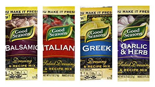 Good Seasons Dressing & Recipe Mix Variety Bundle (Pack of 4) includes 1-Envelope Balsamic, 0.7 oz + 1-Envelope Italian, 0.7 oz + 1-Envelope Greek, 0.7 oz + 1-Envelope Garlic & Herb, 0.75 oz