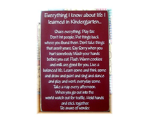 Tamengi Everything I Know About Life I Learned In Kindergarten School Wood Plank Plaque Sign 12''X 16''