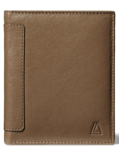 LEATHER ARCHITECT- Men's 100% Leather RFID Classic Tri-fold Wallet- New Cognac