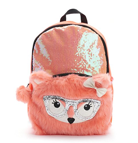 Kids Girls 17 Inch Sequin Backpack with Plush Fox Critter - Fox Side Zip Backpack