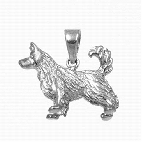Sterling Silver ALASKAN MALAMUTE DOG 3D Solid Pendant, Made in USA, 18