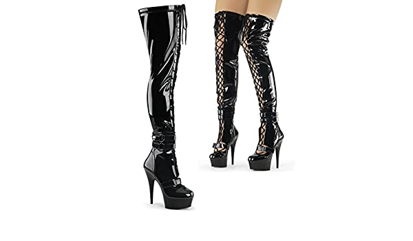Pleaser Delight 3029 Lace Up Thigh High Boot(Women's) -Black Stretch Patent/Black