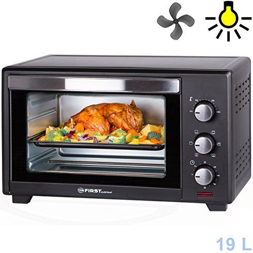 19 Liter Backofen mit Krümelblech | 1380 Watt | Innenbeleuchtung | Umluft | Mini Pizza-Ofen | Doppelglastür | Timer