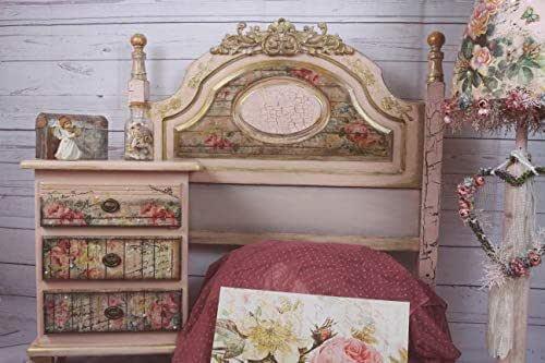 Cabecero y mesita de noche artesanal color rosa y estilo vintage, exclusivo y único, cabecero y mesita de noche para dormitorio de invitados o para dormitorio Juvenil de chica