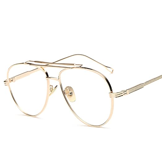 f0476526395b Metal Eyeglasses Frames Men Flat Top Style Eye Glasses Frames for Women  Unisex (gold with