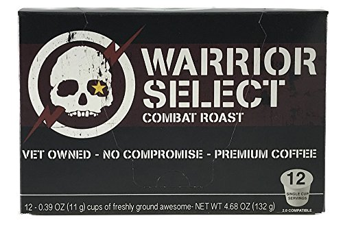 Alpha Coffee, Warrior Select Dark Roast Coffee, 12 Count Single Serve Pods for Keurig K Cup Brewers, Rich Strong Coffee from Colombia, Guatemala, Papua New Guinea