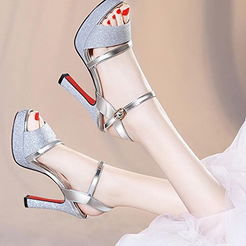 Sandals CJC Womens Platform High Heel Ankle Strap Wedding Club Prom Party Shoes (Color : Silver, Size : EU39/UK6.5) Silver