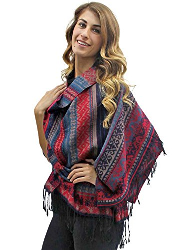 Burgundy Multicolor Native American Print Blanket Scarf Wrap