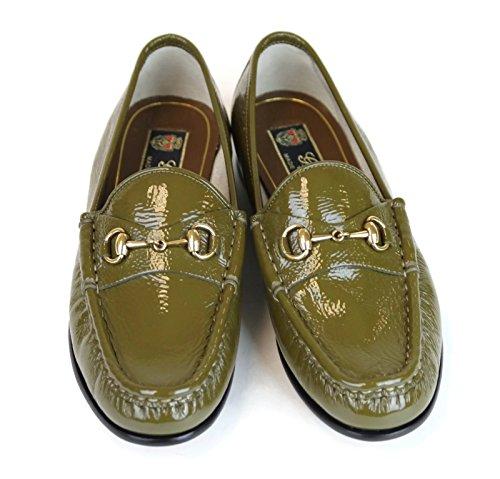 Gucci Bocado de Cuero mocasín 338348 de Patentes de 1953 (7 U.S. / 37, Oliva): Amazon.es: Zapatos y complementos