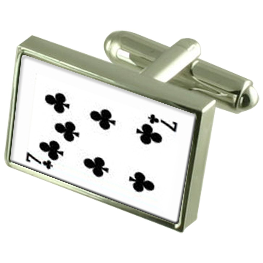 Select Gifts Club Playing Card Number 7 Sterling Silver Plated Cufflinks Boxed