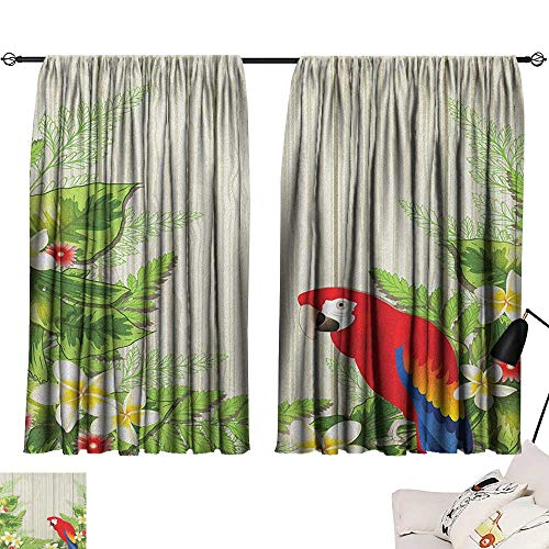Warm Family Parrot Insulated Sunshade Curtain Tropic Flowers and African Parrot in Summer Garden Wooden Wall Ferns Artwork Suitable for Bedroom Living Room Study, etc.63 Wx63 L Cream Green Red