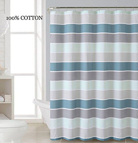 100% Cotton Fabric Shower Curtain: Stripe Design (Teal Blue White Silver and Gray) (Blue And White Stripe Fabric compare prices)