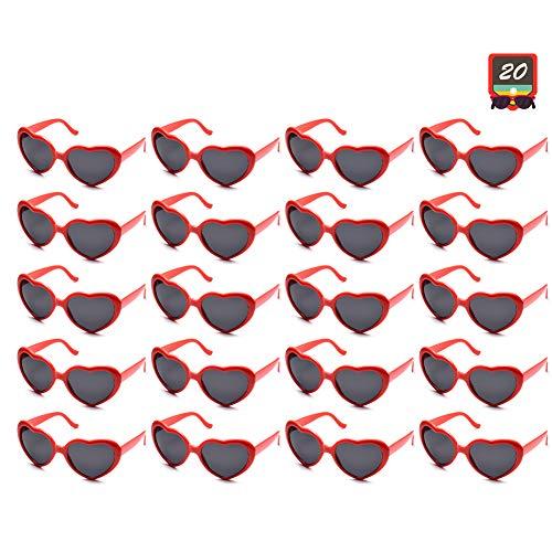 10 Packs Neon Colors Wholesale Heart Sunglasses (20 Packs Red)