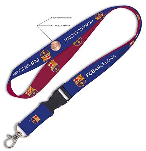 INT'L FC Barcelona Soccer 1-Inch Wide Reversible Lanyard Detachable Buckle Keychain -