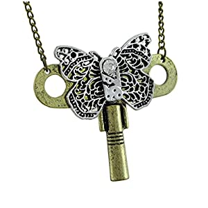 Filigree Butterfly Turnkey Rhinestone Accent Steampunk Necklace
