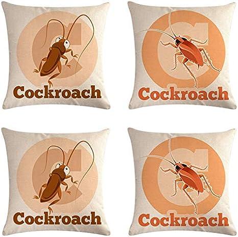 SCVBLJS Cucaracha De Dibujos Animados Funda De Almohada Decorativa De Algodón De Lino Cojín para El Hogar Dormitorio Interior Al Aire Libre 45X45Cm