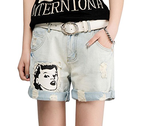 読みやすさ四分円リングファッションデザイン夏女の子デニムショーツジーンズ漫画リップデニムショート、L