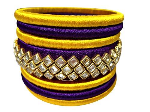 GOELX Silk Thread Elegant Handmade Kundan Bangles Purple & Yellow (2.8) ()