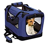 Cheap 2PET Foldable Dog Crate – Soft, Easy to Fold & Carry Dog Crate for Indoor & Outdoor Use – Comfy Dog Home & Dog Travel Crate – Strong Steel Frame, Washable Fabric Cover, Frontal Zipper Medium Blue