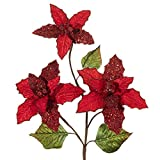 This Poinsettia spray is absolutely stunning. The red velvet petals are partially painted in sequins, sparkles and beads. They are beautiful when all the flowers are opened and separated. They will make arranging fully Very fun.