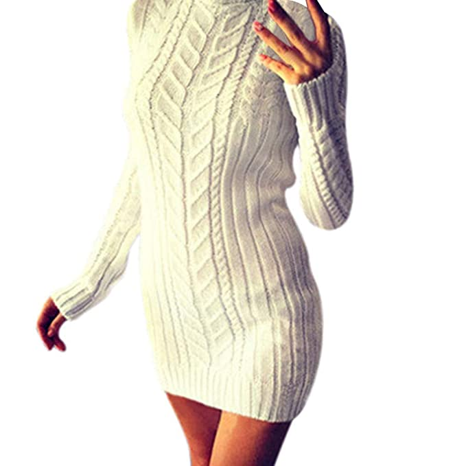 c89d51edb45f Weant Abito da Donna Manica Lunga Collo Alto Lavorazione Maglia Magliette  Donna Abiti Donna Abbigliamento Donna