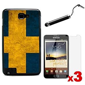"CreativeCase's Black Hard Back Case for Samsung Galaxy Note ( N7000 ) ""Sweden Flag"""
