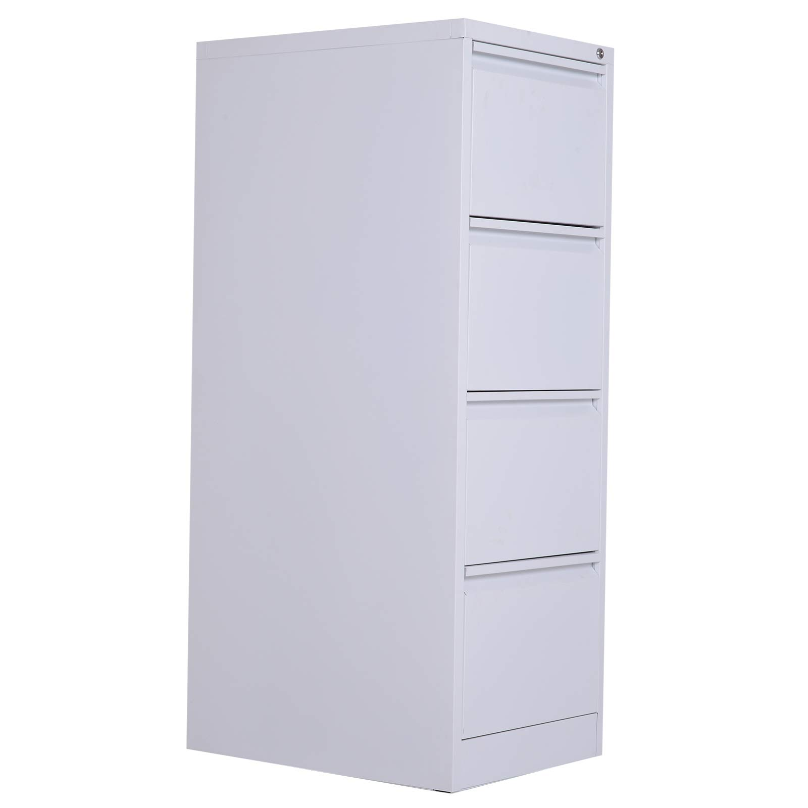 Vinsetto Metal 4 Drawer Vertical Locking Filing Cabinet - White