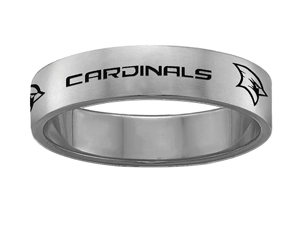 Full Logo College Jewelry Saginaw Valley State Cardinals Magnetic Therapy Rings Stainless Steel 8MM Wide Ring Band