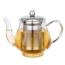 VonShef 25-Oz Glass & Stainless Steel Infusion Tea Pot Loose Tea Leaf Infuser Teapot