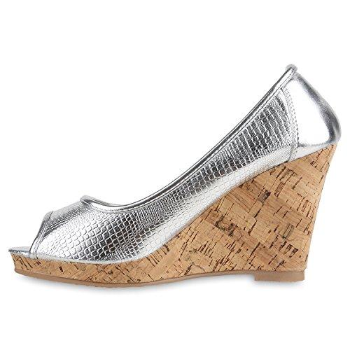 Stiefelparadies Modische Damen Lack Keilpumps Elegante Wedges Abend Schuhe Hochzeit Brautschuhe Flandell Silber Holzkeilabsatz