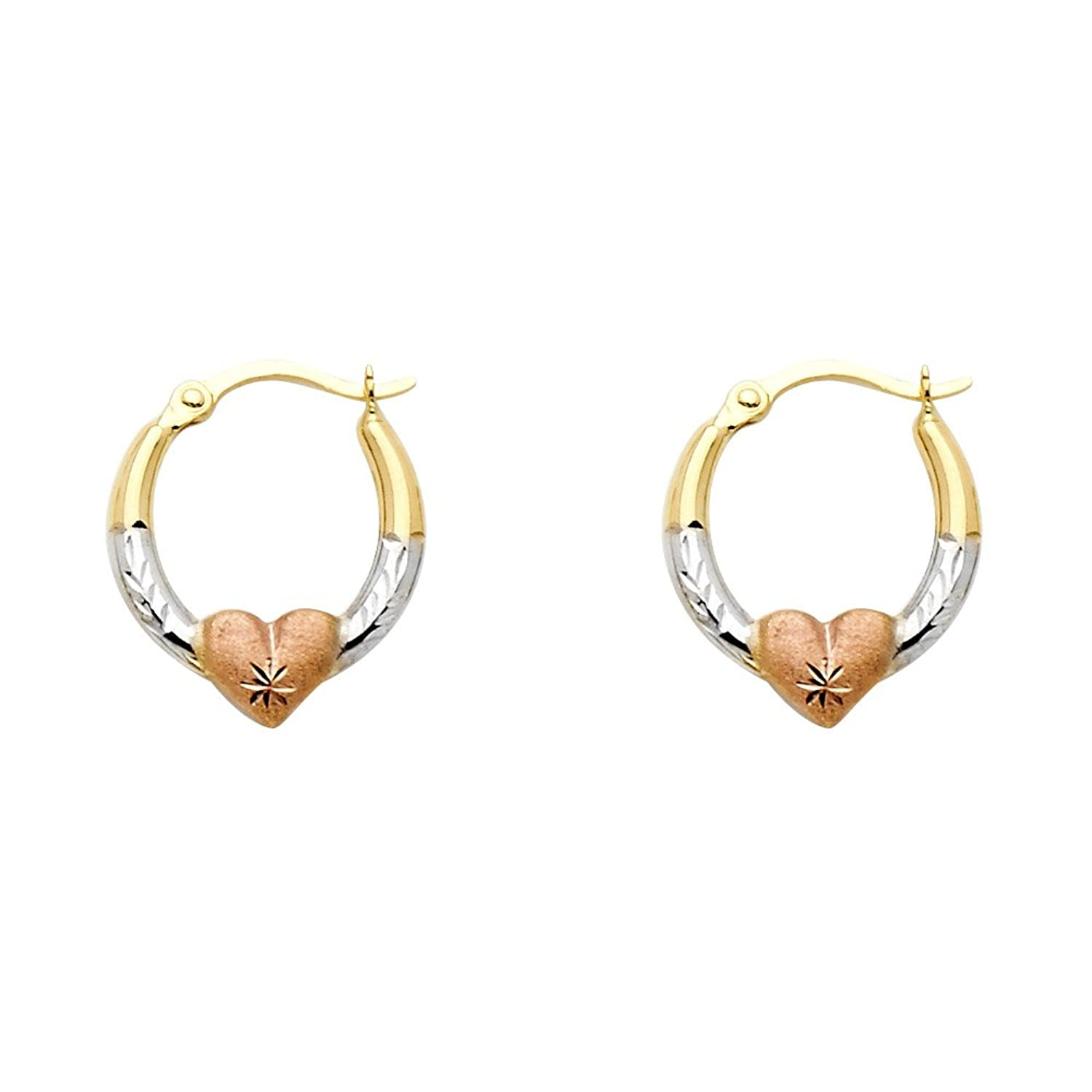 14k Tri Color 2mm Thickness Oval Shape Hoop Earringswith Heart (18 x 14 mm)