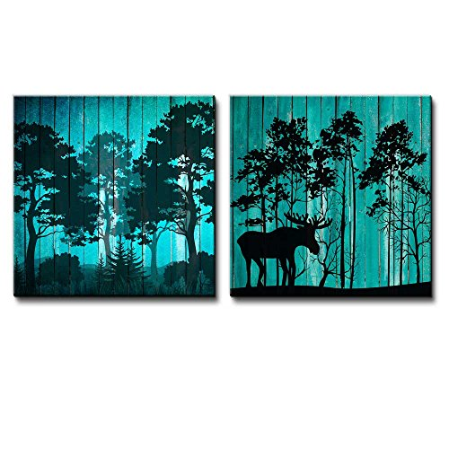 Silhouette of Trees on a Forest Along with Silhouettes of Trees and a Moose Over Teal Wooden Panels