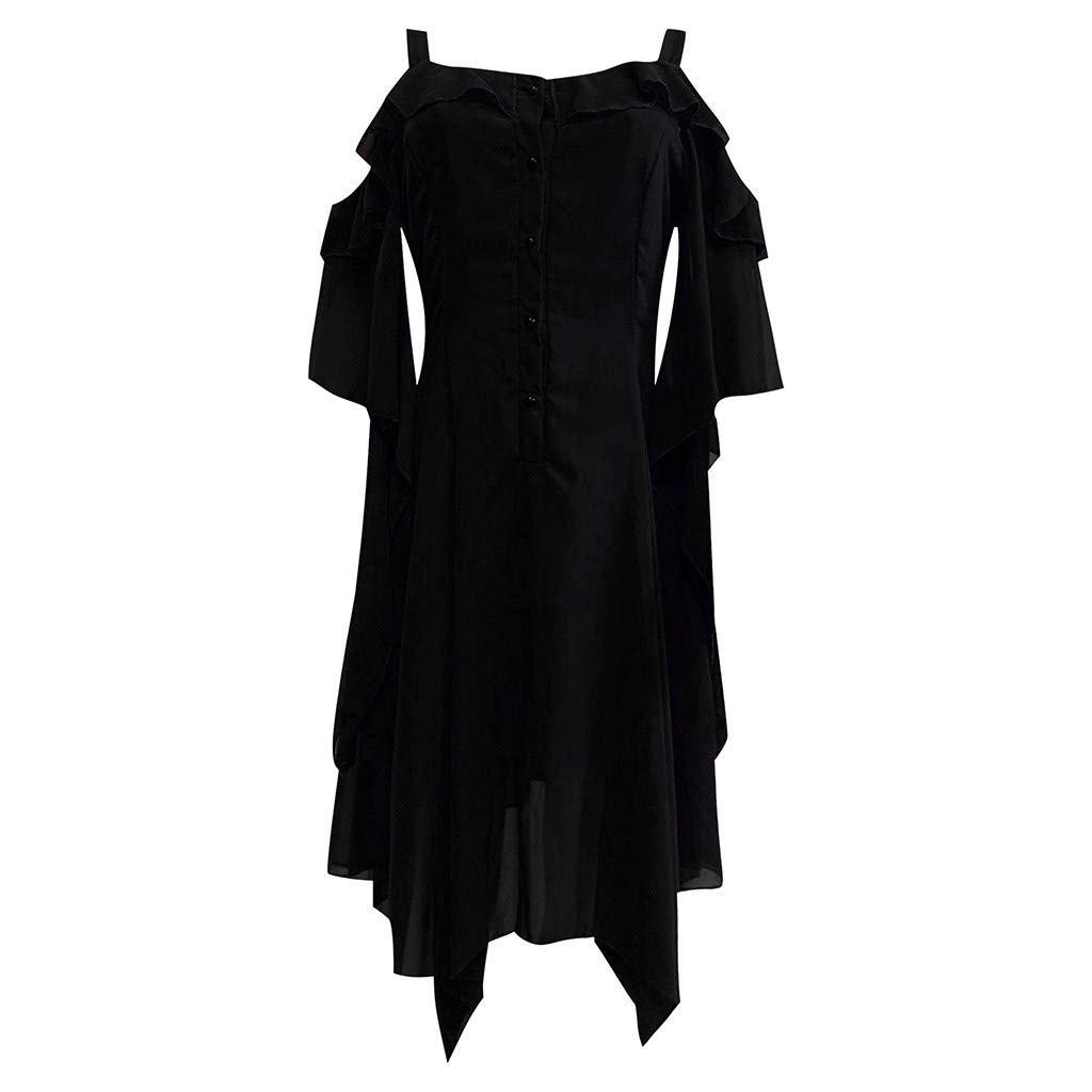 Women's Victorian Gothic Boho Witchy Dress Ruffle Sleeves Off Shoulder Retro Gown Cosplay Festivals Black by sweetnice Women Dresses
