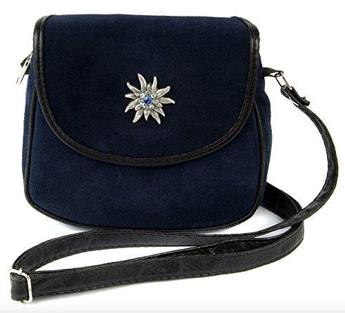 Kleine, dunkelblaue Trachtentasche Dirndltasche Umhängetasche Wildleder mit Swarovski-Edelweiss.