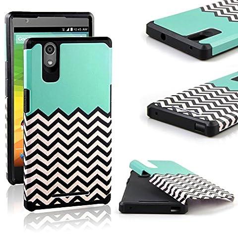 ZTE ZMAX Case, ZTE Z970 Case, RANZ Teal Waves Pattern Desgin with Black Hard Impact Dual Layer Shockproof Bumper Case For ZTE ZMAX Z970 (Zte Zmax Phone Case Z970)